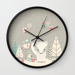 Christmas baby fox 04 Wall Clock