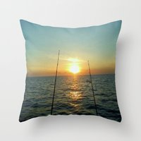 fishing Throw Pillows featuring FISHING by aztosaha