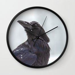 Raven in Snow Wall Clock