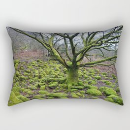 Mossy Green Tree and Rocks Rectangular Pillow