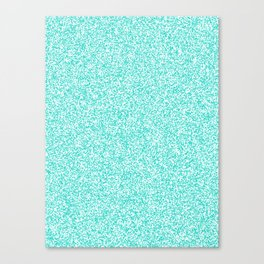 Spacey Melange - White and Turquoise Canvas Print
