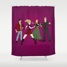 Cartoony Buffy and the gang Shower Curtain