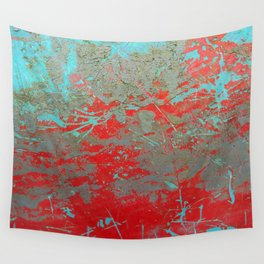 texture - aqua and red paint Wall Tapestry
