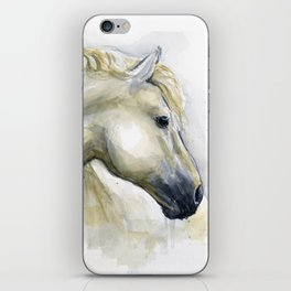 White Horse Watercolor Painting Animal Horses iPhone Skin