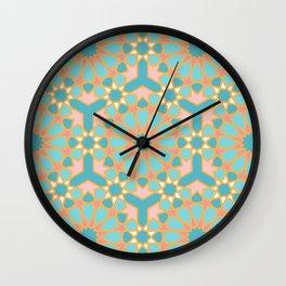 Elegant pastel islamic geometric pattern, teal & orange Wall Clock