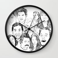 parks and recreation Wall Clocks featuring Parks and Recreation 'Rec a Sketch' by Moremeknow