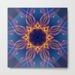 Neon Lights Star Metal Print