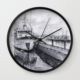Kirkland Marina Waterfront Boat Watercolor Seattle Wall Clock