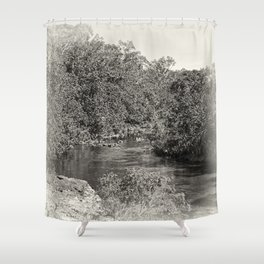 Black and white study of a tranquil river Shower Curtain