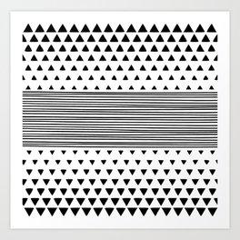 Stripes and Triangles Geometric Modern Black and White Art Print
