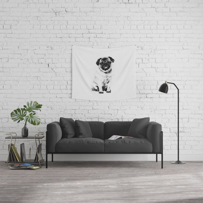 Pug dog Sketch Digital Art Wall Tapestry