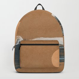 Sunset with minimal shapes on kraft paper Backpack