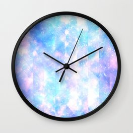 Abstract pink teal geometrical shapes lines pattern Wall Clock