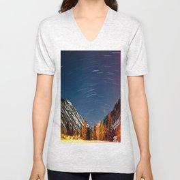 snowy mountaintops beneath the stars Unisex V-Neck