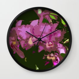 Pink Orchid Abstract Wall Clock