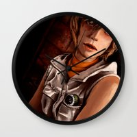 silent hill Wall Clocks featuring Heather Mason - Silent Hill 3 by JeyJey Artworks