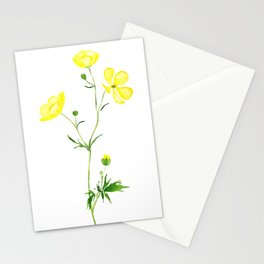 yellow buttercup flower watercolor Stationery Cards