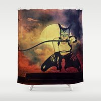 catwoman Shower Curtains featuring catwoman by Ancello