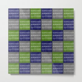 Tribal Patchwork in Navy, Lime and Gray Metal Print