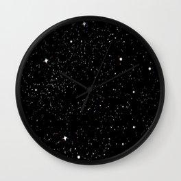Simple psyche white stars night Wall Clock