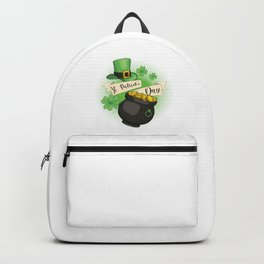 St Patricks Day Hat And Gold Coins Shamrock Gift Backpack