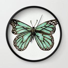 Mint Butterfly Wall Clock