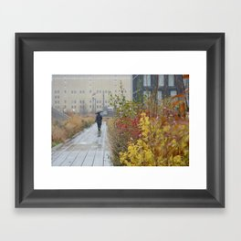 Walking in the rain in New York Framed Art Print