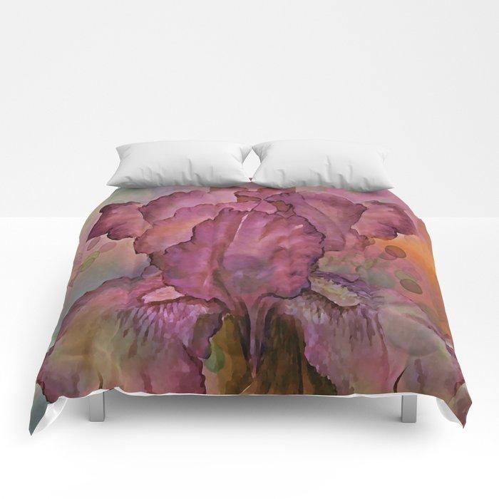 Deep Pink Watercolor Iris Comforters