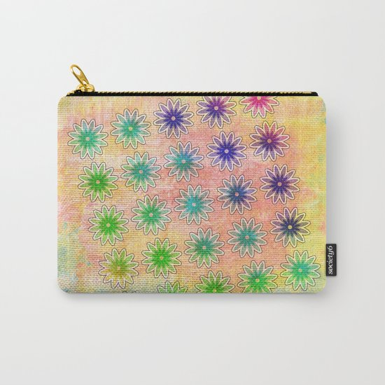 Abstract flower pattern on textured pastel background Carry-All Pouch