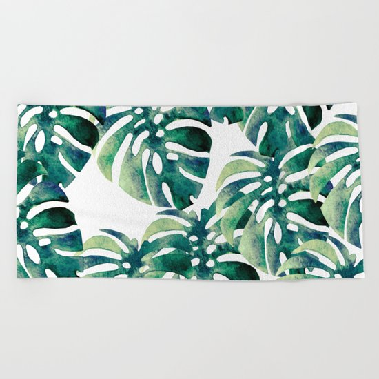 Monstera Pattern Beach Towel