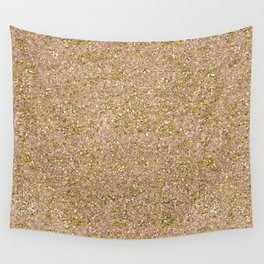 Blush Pink & Gold Glam Glitter Sparkle Wall Tapestry
