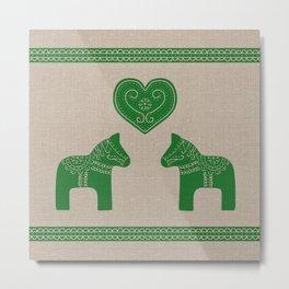 Christmas Green Dala Horses on Burlap Metal Print