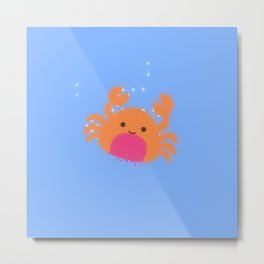 Orange Cartoon Crab Metal Print