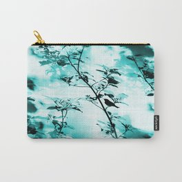Silhouette of songbird on a branch in turquoise variation #decor #society6 Carry-All Pouch