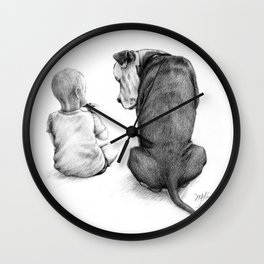 Friends for Life Dog and Child Wall Clock