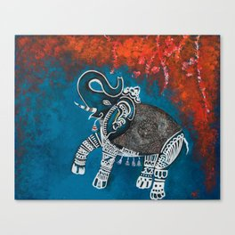 Dancing Elephant in Autumn Canvas Print