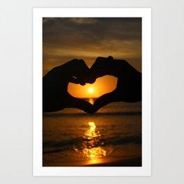 Heart Sunset Art Print