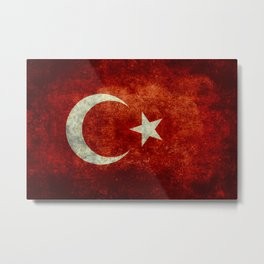 Flag of Turkey, in Grungy Vintage Metal Print