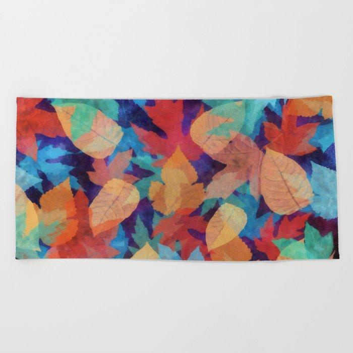 Colorful fallen leaves Beach Towel