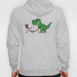 T-Rex Dinosaur Walking Akita   Hoody