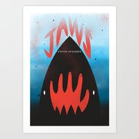 jaws Art Prints featuring JAWS by Wharton