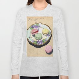 Macarons on an Antique Plate in Gouache Long Sleeve T-shirt