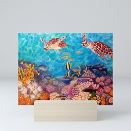 A Good Day for a Swim - Seaturtles in the reef Mini Art Print