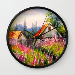 Summer in the village Wall Clock