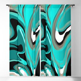 Liquify 2 - Brown, Turquoise, Teal, Black, White Blackout Curtain