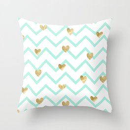 mint gold wave hearts Throw Pillow