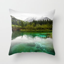 Stunning cloudy day at Zelenci springs, Slovenia Throw Pillow