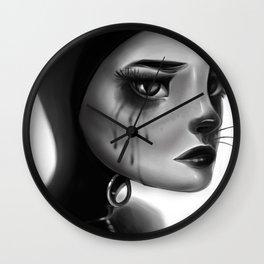 Crying Cat Woman Wall Clock