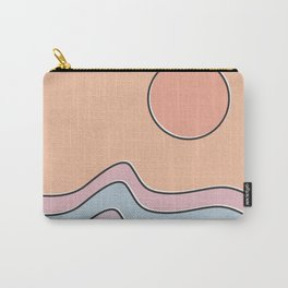 "Ocean Surf ""Let Your Happiness Be the Waves"" // Chill Retro Minimalist Colorful California Summer  Carry-All Pouch"