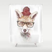 lady Shower Curtains featuring It's pretty cold outside by Robert Farkas